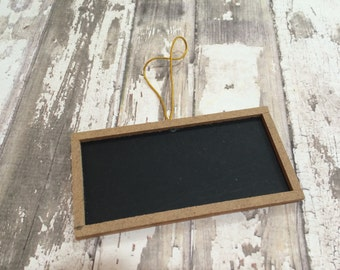 "Set of 6 Wood Framed Square Chalkboard Tags, 2"" X 4"""