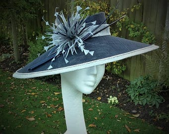Navy Blue Hatinator,Wedding Fascinator, Mother of the Bride Hat, Royal Ascot Headpiece, Occasion Millinery, Blue Hat, Angled Fascinator, Hat