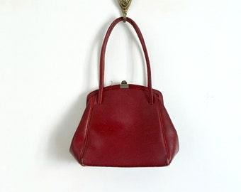 Vintage 1940s 1950s Red Burgundy Leather Handbag Purse
