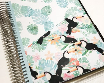 One Divider with Pocket compatible with the Erin Condren Life Planner. Totally Tropical.