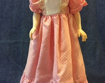 Doll Dress by Jana Lee Coral Swiss Dot with Lining