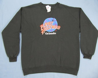 Vintage 90's Planet Hollywood Orlando Black crew neck size X-large made in USA cotton blend embroidered