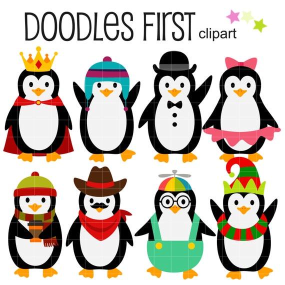 Dress Up Pinguine ClipArt für Scrapbooking Card Making Cupcake