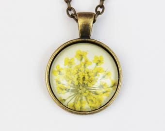 Yellow pressed flower necklace
