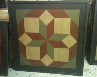 PriMiTiVe Hand-Painted Barn Quilt, Small Frame 2' x 2' - Rolling Star Pattern
