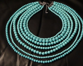 Vintage Multistrand Baby Blue Plastic Bead Necklace,
