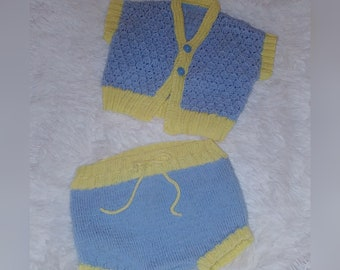 Vintage Baby Boy Spring Easter Knitted Sweater Diaper Cover Pants 0-3 Months