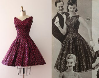 vintage 1950s dress // 50s metallic lace evening dress