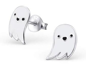 Childrens Enamel Ghost Stud Earrings 925 Sterling Silver - ES1783