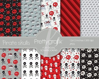 80% OFF SALE Pirate skulls digital paper, commercial use, scrapbook papers, background - PS529