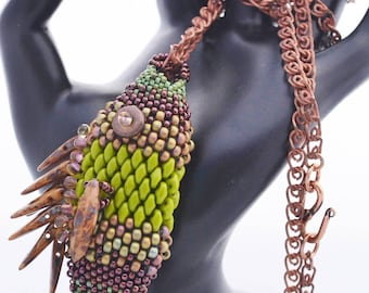 Hand Beaded Fish Necklace This One Will Not Get Away Olive and Brown Beaded Fish Statement Necklace Birthday or OOAK Gift for Her