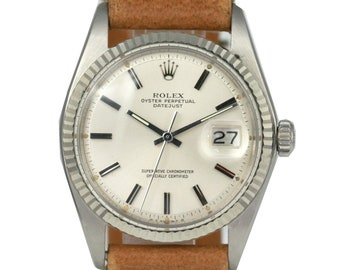 Rolex Mens datejust Silver Dial Fluted Bezel 36mm - RARE DIAL