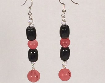 Pink and Black Dangle Earrings