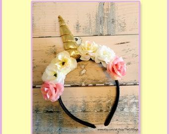 Easter - Magical Unicorn Headband - Unicorn Headband - Flower Unicorn Head Band Photo Prop -Unicorn Headband for Girls - Spring