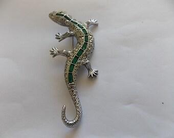 Vintage Lizard Rhinestone Green Glass  Brooch Pin -BIG