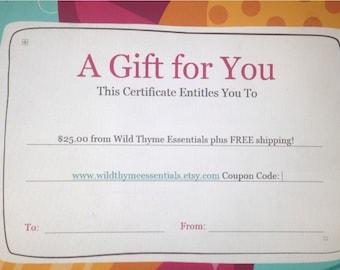 Gift Certificate 50 Dollars