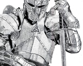 Art Print - Pen & Ink Drawing, A4 - Knight in Shining Armour