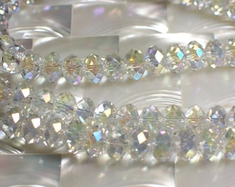 12pcs 8mm Chinese Crystal glass rondelles Beads Iridescent clear Jewelry Beads Jewelery Jewellery Craft Supplies