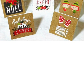 Pack of 18 Holiday Mini Note Card, 2x2 Mini Notecard, Gift Enclosure, Blank Mini Note Card, Little Note Card, Rustic Note Card, Gift Tag