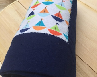 Sail Boat Flannel Receiving Blanket with Contrasting Trim