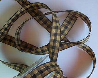 5 meters of beige and black Plaid, gingham Ribbon 15mm (E01)