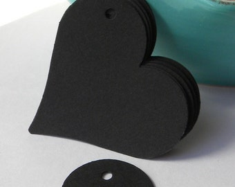 250 paper heart tags - black heart tags - use for wedding favor tags, gift tags