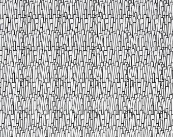 Skyline Fabric by the Yard, Quilting, Novelty, Cityscape, Cotton, Modern, City, Black, White, Abstract, Art, Small Print, Skyscraper, Decor