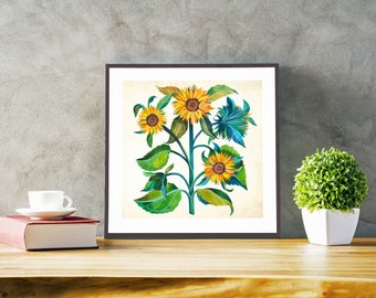 Sunflowers, Floral Art Print, Botanical Print, Sunflowers Poster, Floral Wall Art, Floral Home Decor, Sunflower Art, Flower Art, Gift Idea