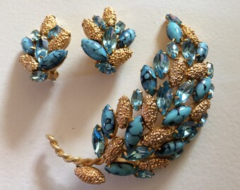 ALICE CAVINESS Stunning Leaf Brooch & Clip On Earrings Demi Parure