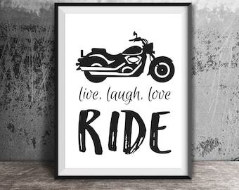 Motorcycle Art, Live Laugh Love Quote, Motorcycle Decor, Gift for the Couple, Wedding Gift, Romantic Gift, Biker Women Gift