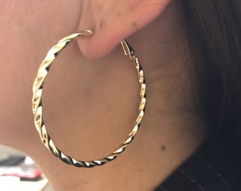Hoops earring, Metal Earring, Gold filled earring, Brass earring, Gold hoops