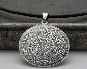 Greek Phaistos Disc Unisex Necklace, Ancient Minoan Cretan Necklace, Sterling Silver Pendant, Greek Mystery, Wearable Art, Greek Jewelry