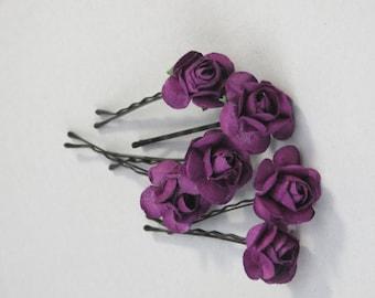Set of 6 Purple Flower Hair Pins Wedding Hair Bobby Pins  Wedding Accessory Bridal Flower Bobby Pins