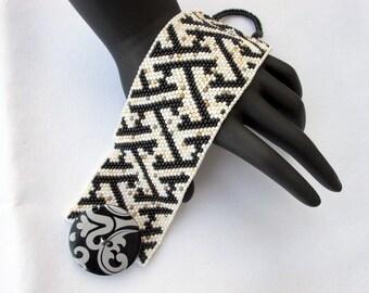 "Cuff bracelet SAYAGATA theme Cuff Bead Woven Bracelet. Black and White beauty. One of a kind. 7"" long, 1 7/8"" wide"