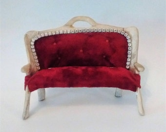 Bone Dollhouse Couch - Gaudy Rhinestone Velvet Couch - Handmade Mini Red Couch - Primitive Carved Bone Couch Sofa - Kitschy Miniature Couch
