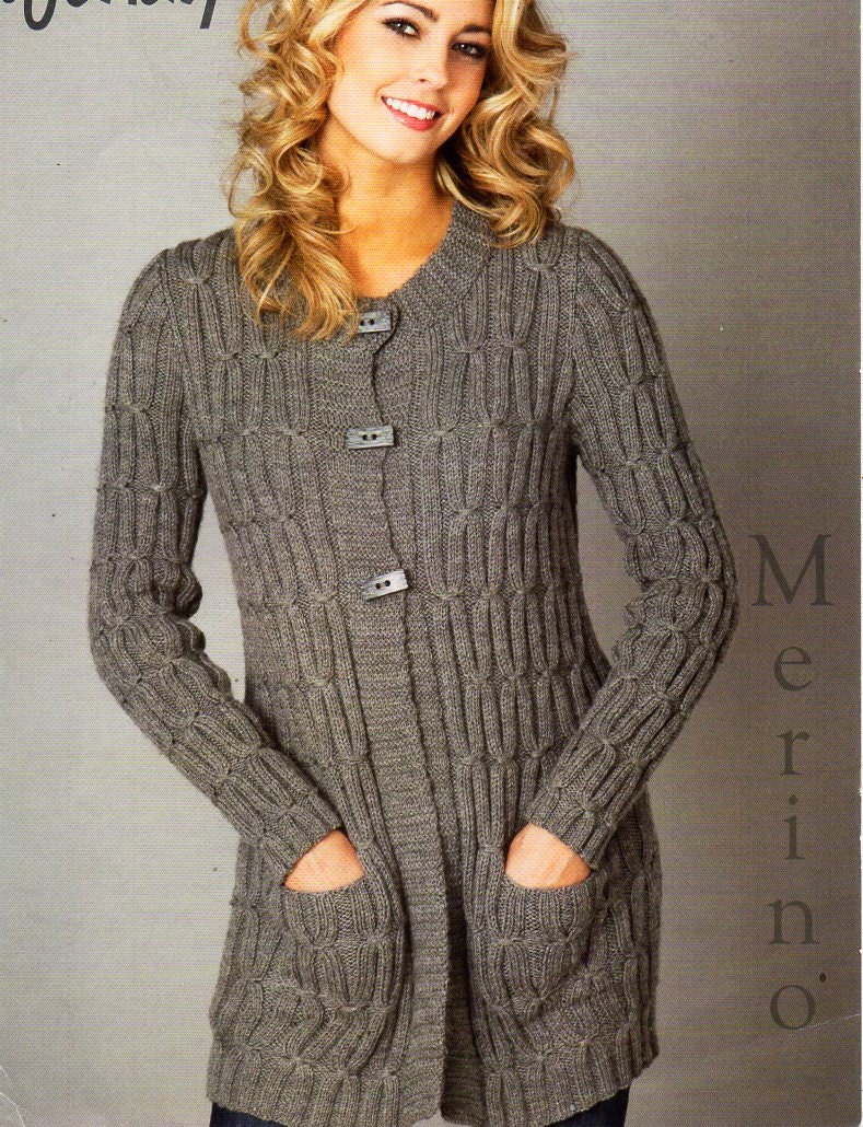 ladies long line cable cardigan knitting pattern PDF DK womens long ...