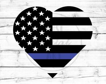 Thin Blue Line American Flag Svg Heart Svg Blue Lives Matter Svg Police Officer Svg Police Wife Svg US Flag Svg for Cricut Silhouette Png