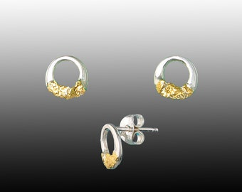 Style 135 Sterling Silver post earrings with 22Kt Gold Inlay