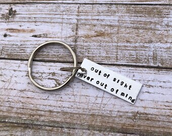 Out of Sight hand stamped love keychain