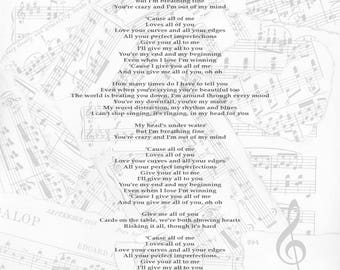 Our song personalised lyrics print - For Him / For Her / Wedding / Anniversary / Engagement / First Dance - Any Song!
