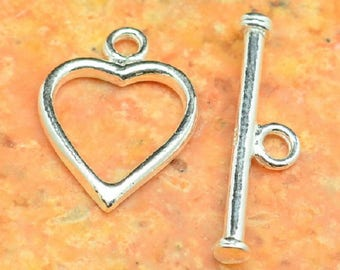 Beautiful toggle clasp in Sterling Silver heart shape