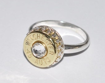 Winchester 45 Auto 1911  Pistol  Bullet  Ring   Sterling Silver 925  Swarovski Crystal Custom Made in the USA Bullet Jewelry