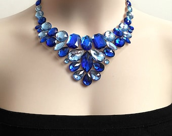 Bib sapphire tulle necklace, collar bib necklace