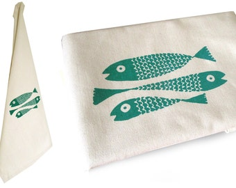 Fish , organic dish towel, organic cotton. Screen printed by hand.