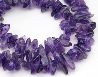 "Amethyst long chips beads, full 15"" strand dark purple semiprecious stone avg size 12mm"