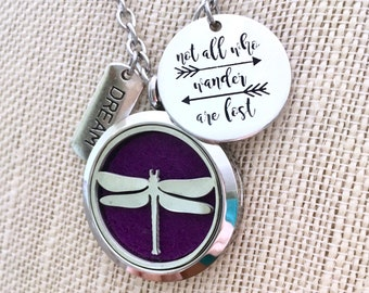 Aromatherapy Necklace, Diffuser Necklace, Essential Oils Locket, Dragonfly Locket