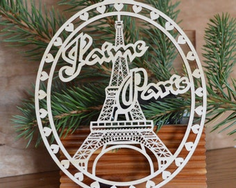Eiffel Tower Ornament Wood cut Eiffel Tower Decoration J'aime Paris Ornament