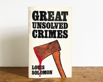Vintage Hand-Embroidered Paperback: GREAT UNSOLVED CRIMES