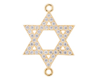 2pcs Gold Star of David Charm, Hanukkah Charm, Jewish Symbol, Hebrew Judaism Cubic Zirconia Bracelet Charm Bead Connector for Jewelry Making