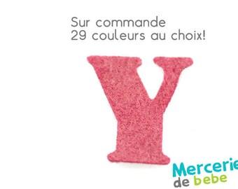 """Alphabet letter """"Y"""" in felt - 29 color choices - 2.5 cm x 2.5 cm"""